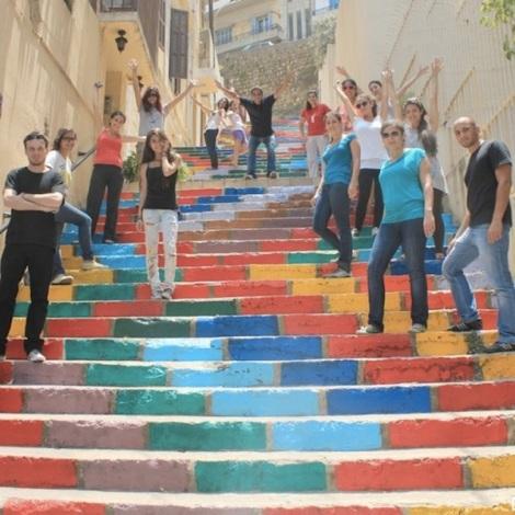 Painted stairsin Beirut, Lebanon